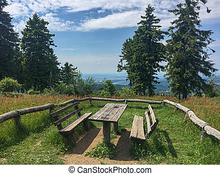 Picnic table on top of Feldberg im Taunus on a sunny summer day