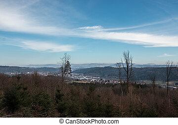 felder, hügel, wälder, und, zivilisation, in, deutschland