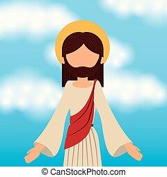felemelkedés, ég, krisztus, háttér, jézus