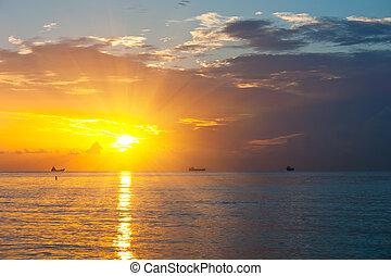 felett, atlanti-, napkelte, óceán
