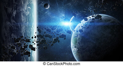felett, csoport, napkelte, bolygók, hely