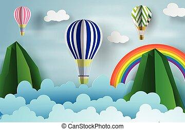 felett, dolgozat, ég, művészet, úszó, ábra, rianbow., vektor, balloon