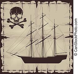 felett, dolgozat, hajó, öreg, koponya, nagy