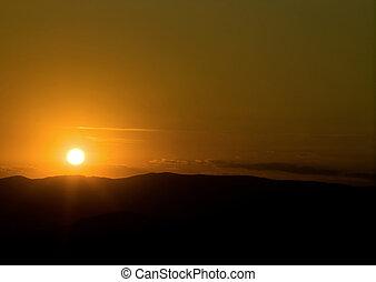 felett, dombok, napkelte