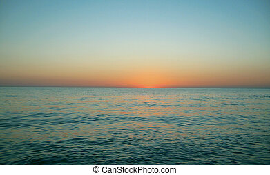 felett, este, napnyugta, tenger