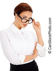 felett, főrend, szemüveg, neki, nő