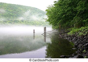 felett, folyó, köd