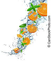 felett, gyümölcs víz, loccsanás, friss, fehér