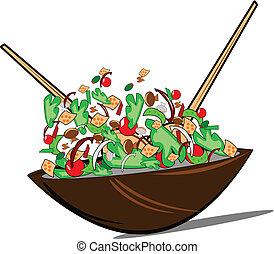 felett, hányódás, fehér, saláta