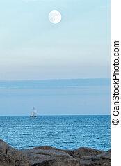 felett, holdtölte, óceán