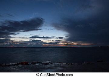 felett, késő, napnyugta, tenger, titokzatos, balti