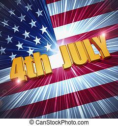 felett, lobogó, amerikai, 4 july, csillogó