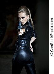 felett, nő, fekete, pisztoly