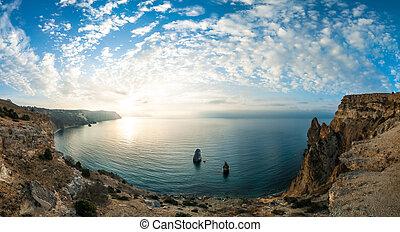 felett, napkelte, tenger, öböl