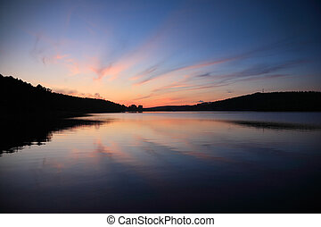 felett, napnyugta, tó