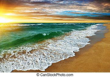 felett, napnyugta, tenger