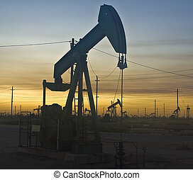 felett, olaj, napnyugta, fúrótorony