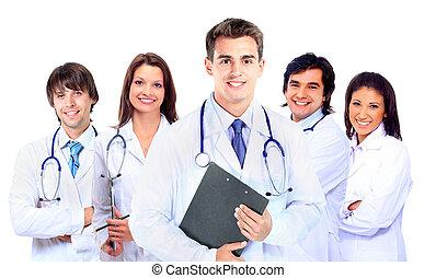 felett, orvos, orvosi, elszigetelt, háttér, mosolygós, fehér, stethoscope.
