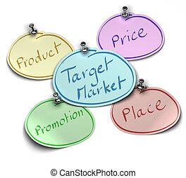 felett, piac, céltábla, pushpin, ár, ő van, hangjegy, termék, írott, állás, háttér, fehér, állandó, hol, előléptetés