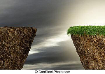 felett, sziklák, két, szakadék