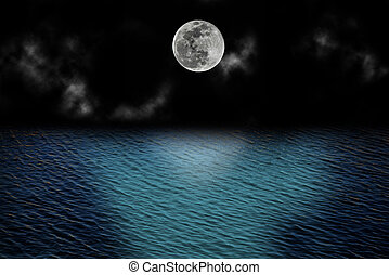 felett, tele, elhomályosul, hold, óceán