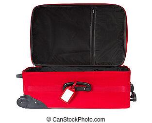 felett, tiszta, címke, azonosítás, white., bőrönd, nyílik, piros