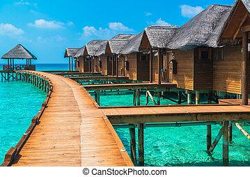 felett, víz, bungalows, noha, lépések, bele, bámulatos, zöld, lagúna