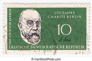 felfedező, bélyeg, 1950:, róbert, -, koch, bacilus, németország, 1950, cirka, látszik, gümő, nyomtatott