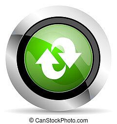 felfrissít, gombol, zöld, ikon, forgás, aláír