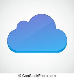 felhő, 3, jelkép., sima, ikon