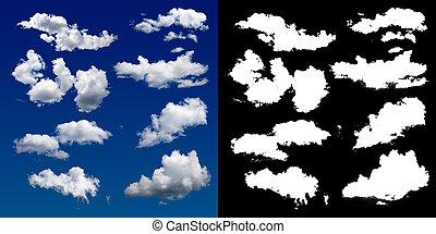 felhő, alatt, a, sky., egy, halftone, darabka, maszk,...