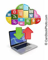 felhő, computing., laptop, és, ikonok, software.