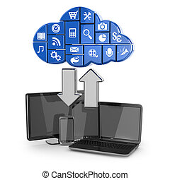 felhő, computing., laptop, tabletta pc, és, telefon.