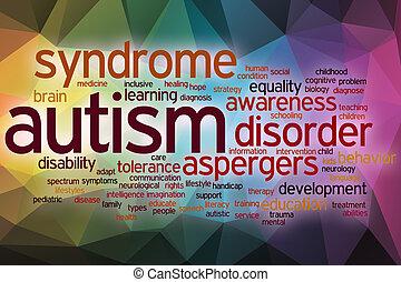 felhő, elvont, szó, autism, háttér