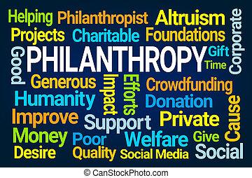 felhő, filantrópia, szó