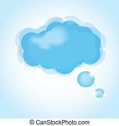 felhő, icon., vektor, sima, ábra