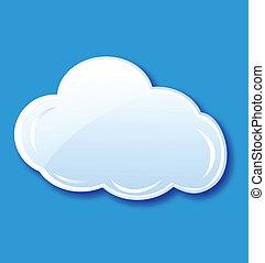 felhő, ikon, elem, vektor