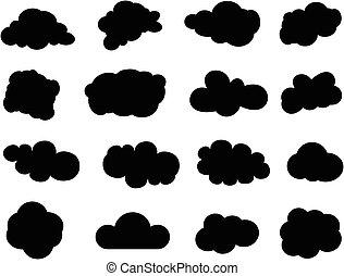 felhő, ikonok, állhatatos