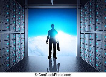 felhő, kívül, ministráns, ügy, hálózat, ember, konstruál, 3, szoba, fogalom