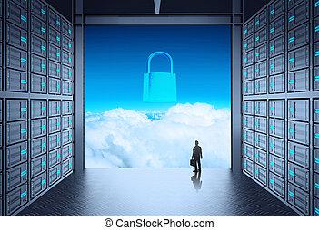 felhő, kívül, ministráns, hálózat, 3, szoba, fogalom