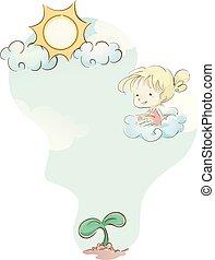 felhő, kölyök, berendezés, leány, nap, ábra