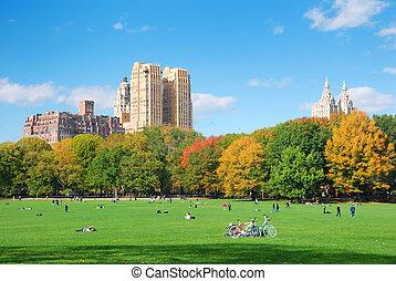 felhő, központi, kék ég, dísztér város, york, új