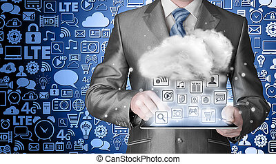 felhő, kiszámít, technológia, connectivity, fogalom