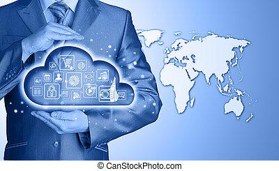 felhő, kiszámít, touchscreen, határfelület