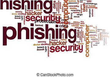 felhő, szó, phishing