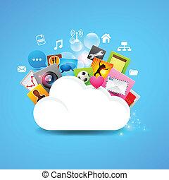 felhő, tárolás, vektor