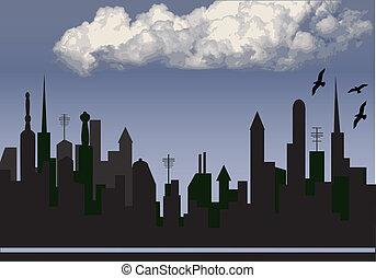 felhő, város