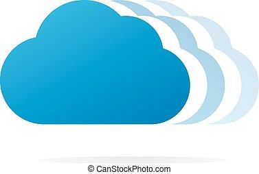 felhő, vektor, jel, vagy, jelkép, ikon