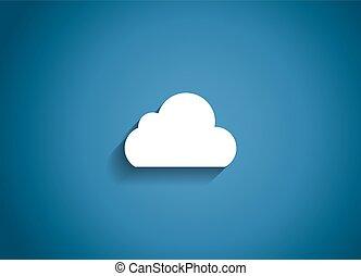 felhő, vektor, sima, ábra, ikon