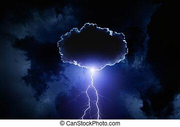 felhő, villámlás